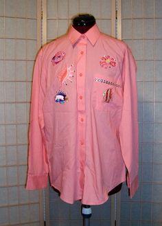 Las Olas Sz S Peach Pink Button Front W/ Fish Nautical Embroidery Shirt #LasOlas #ButtonDownShirt
