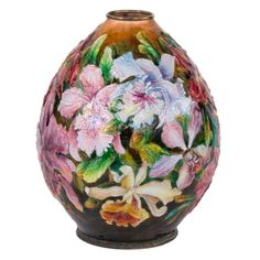 Art Nouveau Floral Vase by Camille Faure | From a unique collection of antique and modern decorative objects at https://www.1stdibs.com/furniture/decorative-objects/decorative-objects/