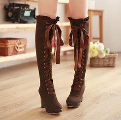 The new Japanese harajuku fashion girl pure and fresh and high boots/K0060
