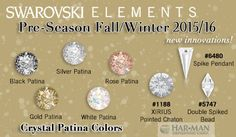 The Pre-Season Fall-Winter 2015/16 Collection is here! Swarovski's new Crystal Patina effect combines the beauty of the past with modern elegance. It is available on crystal in chatons, as well as assorted fancy stones, sew on stones, flatbacks, beads and pendants. To view the entire collection, click here:  https://www.harmanbeads.com/assets/images/PDFs/Product%20Information/Innovations/SW%20July%202014_Innovations.pdf