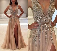 inmagicdress Evening Dresses For Women Formal Slit Luxury Prom Dresses Long Champagne 204 at Amazon Women's Clothing store: