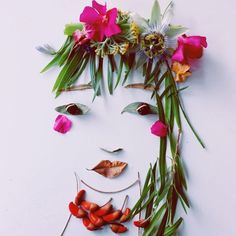 Making faces with found objects - Leaf Art by Justina Blakeney