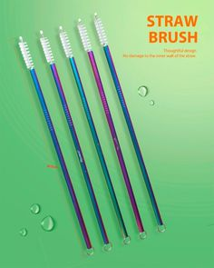 7 Set Stainless Steel Straw 3 Reusable Cleaning Brush Brushes Curved Straight UK