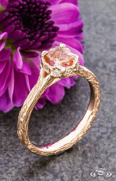 Hand Carved Rose Gold Cushion Peach Sapphire Floral Engagement Ring. Green Lake Jewelry