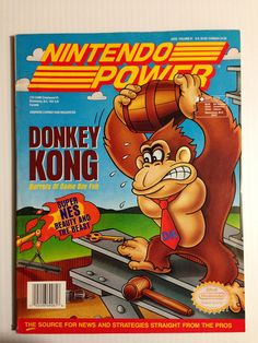 Nintendo Power cover themed around the Game Boy version of Donkey Kong from Super Nintendo, Nintendo Games, Arcade Games, Retro Video Games, Video Game Art, Retro Games, Video Game Magazines, Gaming Pc Build, Diddy Kong