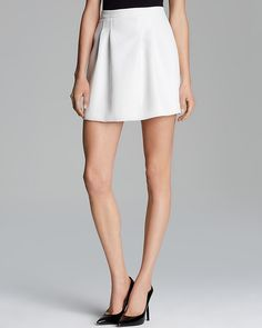 $68, White Skater Skirt: Aqua Skirt Texture Zip Back. Sold by Bloomingdale's. Click for more info: https://lookastic.com/women/shop_items/27871/redirect