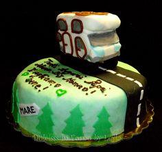 Torta decorata Camper, pasta di zucchero, cake design