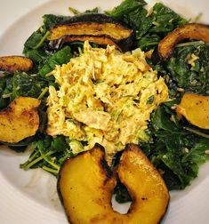 What to do with leftover rotisserie chicken? Make curry chicken salad! Serve on top of kale mixed with Parmesan and maple dressing and serve with roasted acorn squash Curry Chicken Salad Recipe: -1/2c. mayo -1 TBS. curry powder -splash of white wine vinegar -1/3c. diced scallions -1/3c. diced celery -1/3c. golden raisins -1/3c. roasted & roughly chopped cashews -1/2TBS. Major Greys chutney -mix all of the above together and combine with about half of a pulled rotisserie chicken (might need…
