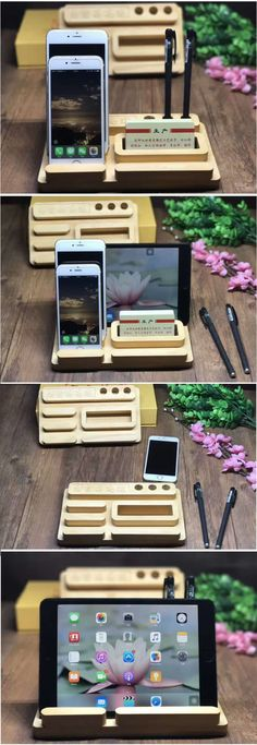 A Wooden Office Desk Organizer iPad iPhone Cell Phone Stand Mount Holder Pen Pencil Holder Stand Business Card Display Stand Holder for iPhone 77 Plus and other smartphones Diy Headphone Stand, Diy Phone Stand, Wood Phone Stand, Woodworking Skills, Easy Woodworking Projects, Custom Woodworking, Business Card Displays, Small Wood Projects, Tablet Holder