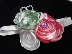Oh So Delectable Trio Of Satin Lollipop Flowers by MyRoseyCottage, $8.00