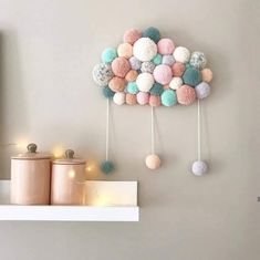 Browse all products in the PoomCloud (Nuages en pompons ) category from Sweet Poom. Diy Crafts For Home Decor, Diy Arts And Crafts, Baby Crafts, Diy Wall Decor, Baby Decor, Hobbies And Crafts, Diy Crafts For Kids, Homemade Wall Decorations, Diy Bebe