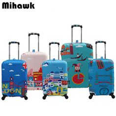 One Bear Around The World Travel Luggage Cover Teal Green Luggage With Travelling Stickers Elastic Suitcase Dust-proof Case Protector Fit 29-32 Inch Luggage Baggage