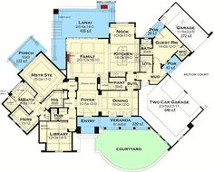 Distinctive Cottage With Lanai and Courtyard - 16884WG | Architectural Designs - House Plans