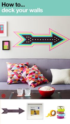 Cool DIY ideas to personalize your college dorm room and make the walls come alive with a splash of color (and we don't mean beige). Start with a marquee wall decal to add that modern touch. Amp it up with colorful borders, courtesy of Washi tape. Then, fill frames of all sizes with your favorite memories or bold wall art to add the finishing touch.