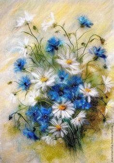 """Купить Картина из шерсти """"Привет из лета от васильков и ромашек"""" - васильковый, полевые цветы, ромашки, васильки"""