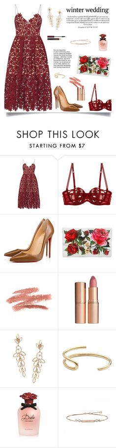 """Red Romance"" by isobel-m ❤ liked on Polyvore featuring self-portrait, La Perla, Christian Louboutin, Dolce&Gabbana, Fay Andrada and Kevyn Aucoin"