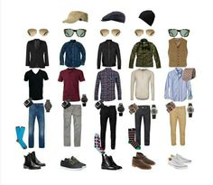 Men's Fashion Basics - capsule wardrobe for men Style Outfits, Casual Outfits, Men Casual, Fashion Outfits, Fashion Tips, Fashion Basics, Guy Outfits, Fashion Clothes, Man Outfit