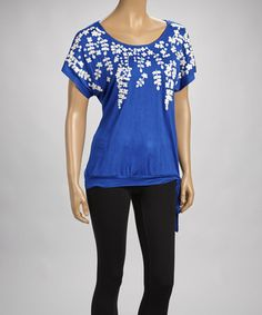 Take a look at this Lapis Embroidered Scoop Neck Top by Simply Irresistible on #zulily today! $20 !!