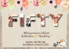 50th Birthday Invitation ( or any age ) Invite Rustic Shabby Chic Watercolor Flowers Robin Bird Burlap and Lace Wood Planks Boards 40th 60th 70th 80th 90th 30th thirty forty fifty sixty seventy eighty ninety