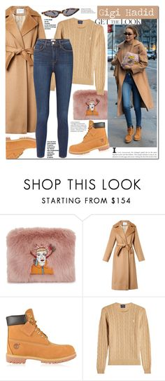 """gigi Hadid"" by mery90 ❤ liked on Polyvore featuring Shrimps, MaxMara, Timberland, Polo Ralph Lauren, L'Agence, GetTheLook, StreetStyle, CelebrityStyle and winterstyle"