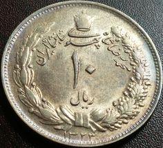 SH1323 (1944) 10 Rials (Persia) Silver Coin Mohammad Reza Shah Pahlavi KM# 1146