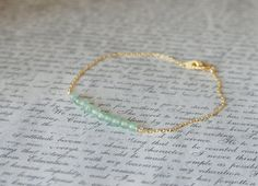 16K Gold Plated Minimalistic Bracelet / Light Mint Green Aventurine Gemstone 3mm Tiny Beads Beaded Bar / Thin Chain / Small Beads via Etsy