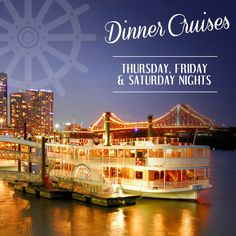 Experience the city lights, under the stars, from the iconic Kookaburra Queen paddle wheelers with an amazing Dinner Cruise! Setting sail every Thursday, Friday and Saturday night. BOOK NOW! Thursday Friday, Saturday Night, Brisbane River, Night Book, Rest And Relaxation, City Lights, High Tea, Paddle, Cruise