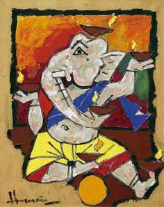 MF Husein Mf Hussain Paintings, Abstract Face Art, Lord Ganesha Paintings, Cubism Art, Madhubani Art, Indian Art Paintings, Indian Artist, Fruit Art, Modern Art