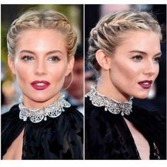 "Sienna Miller in vampy lips sun-kissed tan cheeks makeup, middle split french plaits braided updo hairstyle, diamond choker at ""Carol"" Premiere Cannes Braided Hairstyles Updo, Crown Hairstyles, Wedding Hairstyles, Braided Updo, Loose Braids, Christmas Hair, Love Hair, Hair Dos, Hair Designs"
