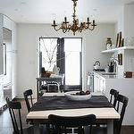 dining rooms - glossy black dining chairs metal dining table oak wood top brass chandelier stainless steel kitchen island  Gorgeous, eclectic