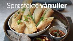 Sprø vårruller med soyadipp Norwegian Food, Norwegian Recipes, Asian Recipes, Ethnic Recipes, Frisk, Spring Rolls, Diy Food, Fresh Rolls, Finger Foods