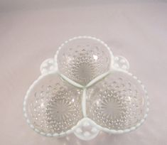 Check out Vintage Anchor Hocking Moonstone 3 way Divided Relish Candy Dish Opulescent Hobnail on timegonebyvintage