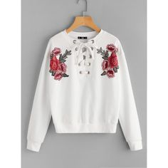 Embroidered Flower Patch Grommet Lace Up Sweatshirt (6.140 HUF) ❤ liked on Polyvore featuring tops, hoodies, sweatshirts, white, lace front top, lace front sweatshirt, eyelet top, lace up sweatshirt and white embroidered top