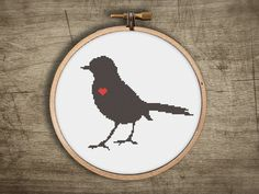 bird modern cross stitch pattern retro sparrow love by futska