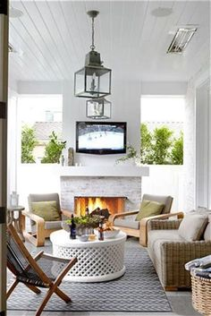 White Brick Outdoor Fireplace - Design photos, ideas and inspiration. Amazing gallery of interior design and decorating ideas of White Brick Outdoor Fireplace in living rooms, decks/patios, porches by elite interior designers. Outdoor Living Rooms, Outdoor Spaces, Living Spaces, Outdoor Decor, Living Area, Outdoor Seating, Outdoor Ideas, Outside Living, Rustic Outdoor