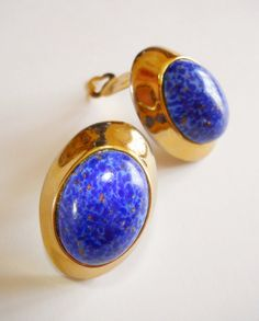 Faux Blue Lapis Earrings Vintage Runway Gold Tone Huge 1.5 inches