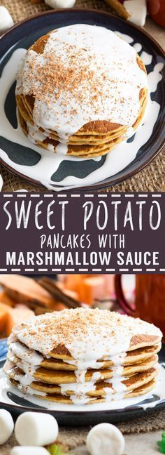 These Sweet Potato Pancakes are topped with Marshmallow Sauce for an extra special Thanksgiving breakfast! Delicious and easy to make.