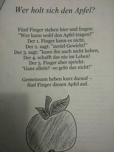 Finger game about apple - Wald Kindergarten Activities, Activities For Kids, The Rainbow Fish, Finger Games, Kindergarten Portfolio, Kids Poems, Learn German, German Language, Special Education