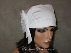 Handmade Side Shirred Turban Hat with Looped Tie