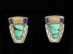 This is a wonderful pair of estate found earrings designed by Victoria Adams in collaboration with Carolyn Pollack. Adams is a Southern Cheyenne jewelry artist. Rendered in fine sterling silver, these earrings feature 14k gold accents along with turquoise and amethyst stones. | eBay!