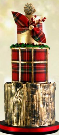 First Christmas Cake of the seasson! Beautiful Cake Designs, Beautiful Cakes, Amazing Cakes, Plaid Christmas, Christmas Treats, Christmas Cakes, Unique Cakes, Creative Cakes, Modern Cakes