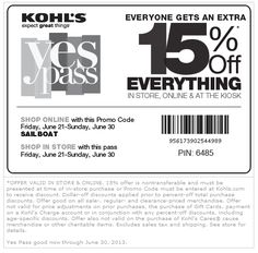 Pinned June 21st: 15% off everything at Kohls, or online via promo code SAILBOAT coupon via The Coupons App