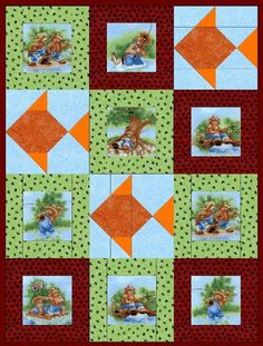 Bears Fishing Pre-Cut Quilt Blocks Kit from Quilt Kit Shop