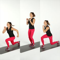 10 Bodyweight Moves For a Toned Tush - Split Lunge Jumps Stand with your feet together and your knees soft. Jump and come into a lunge with your left leg forward. Push off with both feet, jumping them together, then hopping into a lunge with your right leg in front. Jump your feet back together to complete one rep.