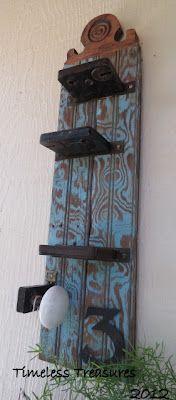 Repurposed wood and vintage hardware / door knob into shelf