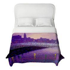 DiaNoche Designs - Purple Mist Ha Penny Bridge Duvet Cover - Lightweight and super soft brushed twill Duvet Cover sizes Twin, Queen, King.  ...