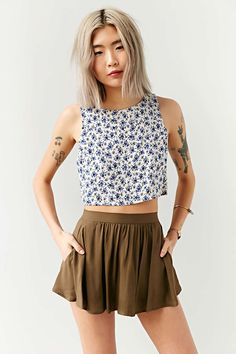 Kimchi Blue Printed Scoop-Pocket Short - Urban Outfitters