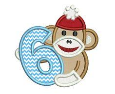 Sock Monkey Boy Happy Birthday Number 6  by EmbroideryLand on Etsy