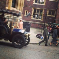 Monday, June 24, 2013  New Downton Abbey Season 4 Set Photos on the Streets of London!  Downton Abbey Season 4 Set Photos With Laura Carmichael (Lady Edith)
