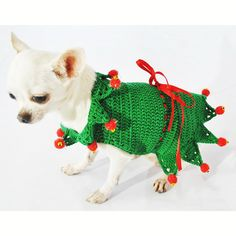 Elf Santa Claus Dog Costumes Unique Christmas Pet Clothes Puppy Costume Chihuahua Clothing Handmade Crochet DF32 - Free Shipping